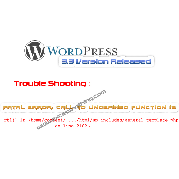 Wordpress 3.3 Released - TroubleShooting Fatal Error