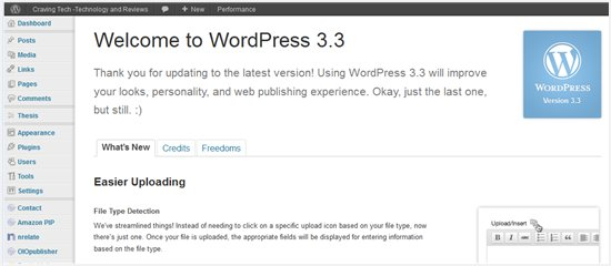 Wordpress 3.3 Dashboard